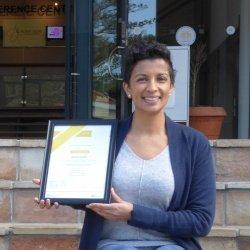 Arlene Cloete showing off her Certificate Programme in Business Analysis