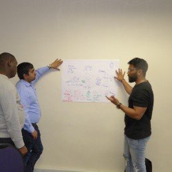 Group of participants learning with a case study exercises